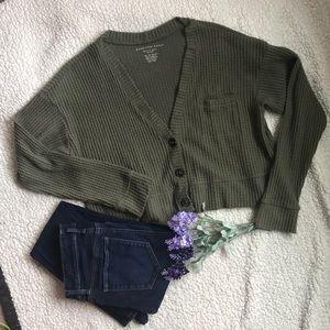 AE Soft & Sexy Plush Olive Cropped Cardigan